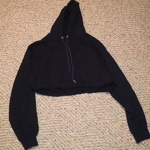 Cropped black hoodie